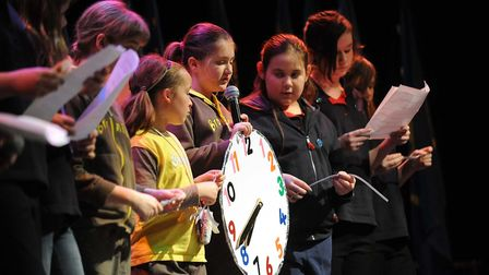 STAR NEWS Ipswich Girl Guides thinking day at the Ipswich Regent. Pix Phil Morley 21/2/10 M
