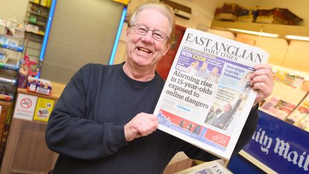 Holding up a copy of the EADT is Alan Devereux. Picture: GREGG BROWN