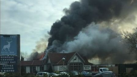 Billowing smoke from Breckland Lodge in Attleborough. Picture: NIALL RAY