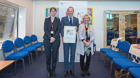 Dr Susanne Frahne from the German Embassy with Farlingaye headteacher Dr Andy Sievewright and deputy
