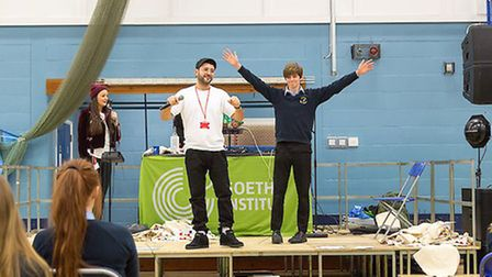 German rapper Chefket and back up singer Alexa perform at the school. Picture: MARK WITTER PHOTOGRAP