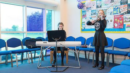 Farlingaye student Sukey and Katya Bathgate performing at the event. Picture: MARK WITTER