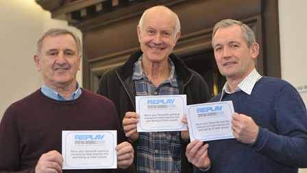 Roger Osborne, Bill Tancred and George Burley at the launch of Sporting Memories. Picture: SARAH L