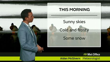 Snow showers in the east will turn increasingly to rain or sleet and mostly die out by early afterno