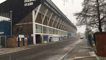 Snow starts to fall outside Portman Road. Picture: KATY SANDALLS