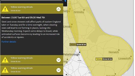 A yellow weather warning is in place for East Anglia today and into tomorrow. Image: MET OFFICE