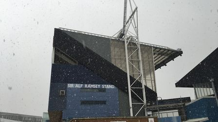 The snow started falling heavily on Tuesday afternoon. Picture: AMY GIBBONS