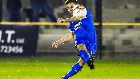 Joe Jefford, who netted a late winner for Leiston against Ipswich Town XI tonight. Picture: STEVE W