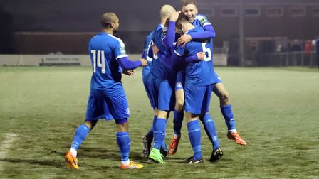 Leiston players celebrate their dramatic win over Ipswich Town in the Suffolk Premier Cup. Picture: