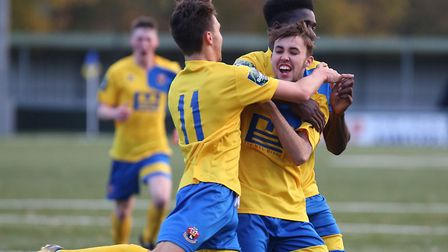 Ben Hunter, centre, a Sudbury academy player, who has played in the first team this season.