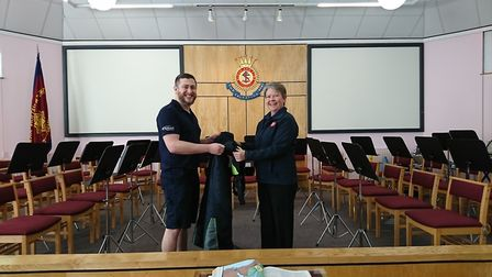Daniel Johnson from Bidfood and Major Beverley Robilliard from The Salvation Army in Stowmarket. Pic