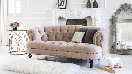 Undated Handout Photo of Flirt With Feminine Touches Chablis & Roses Pink Velvet Sofa, from �1,120