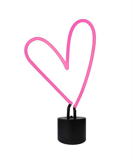 Undated Handout Photo of Let The Wall Pop The Question Home Collection – Pink Heart Neon Table Lamp
