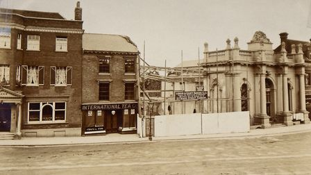 This image shows the birth of an important building that survives on the Market Hill, It was built i
