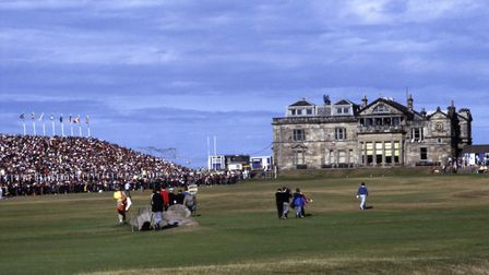 Looking up the fairway towards the Royal & Ancient clubhouse during the British Open golf championsh