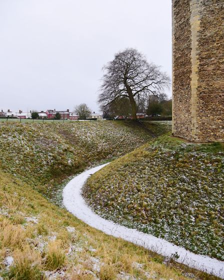 Framlingham Castle had a light dusting of snow. Picture: SARAH LUCY BROWN