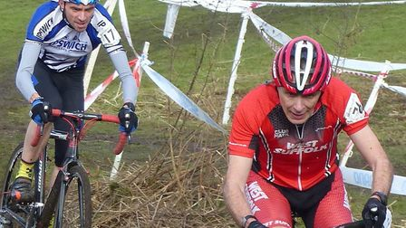 Paul Watson (West Suffolk Wheelers) is tracked by Dave Copland (Ipswich BC) at Milton, Picture: FERG