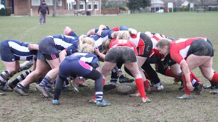 Chelmsford, left, and Lakenham scrum down. Picture: CONTRIBUTED