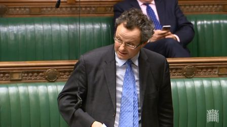 Waveney MP Peter Aldous speaking in the Houses of Parliament on the Police Grant motion. Picture: PA