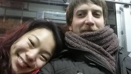 Mike and Jihyeon Harbrow on holiday in Japan. Picture: CONTRIBUTED