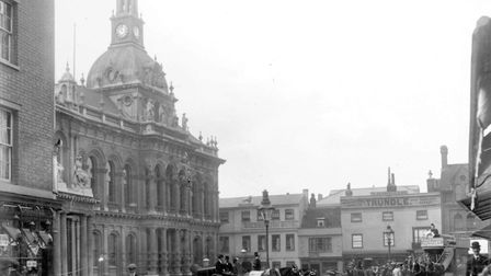 The Cornhill and town hall, Ipswich in 1897. The horse drawn tram service ran in the town from Octob