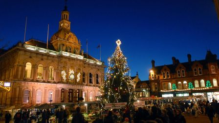 The Town Hall floodlit for Christmas 2007. Picture: DAVID KINDRED ARCHIVE
