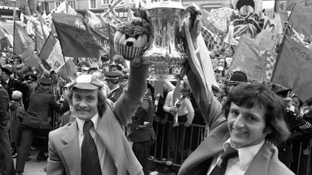 Ipswich Town team captain, Mick Mills, and goal scorer, Roger Osborne, on the steps of the Town Hall