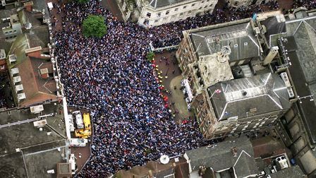 Fans packed onto the Cornhill in 2000 to celebrate the return of Ipswich Town Football Club to the P
