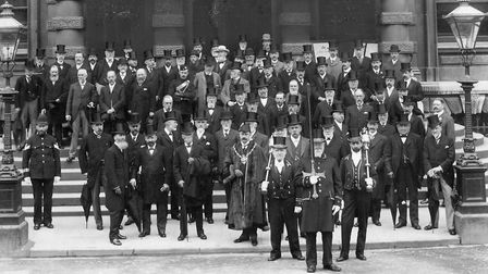 The civic party on the town hall steps after returning from a service to celebrate the Coronation of