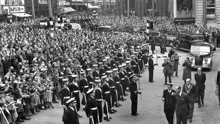 The Duke of Edinburgh, inspecting a guard of honour provided by HMS Ganges, during a visit in the 19