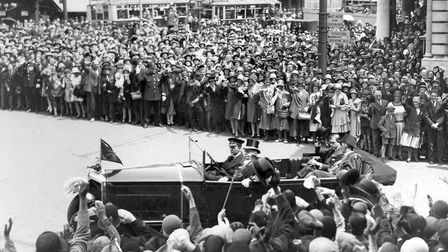 A packed Cornhill, Ipswich, in June 1930, when the Prince of Wales, (who abdicated in December 1936
