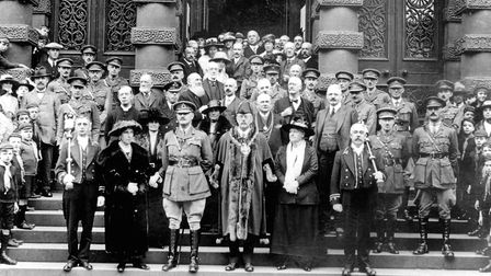 The Mayor Frederick Rands, and members of the Corporation on the town hall steps on October 11, 1919
