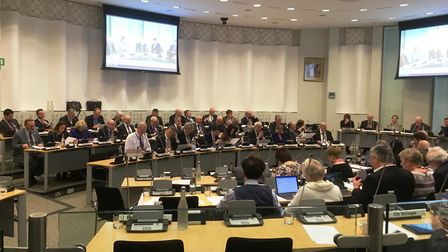 Members of Suffolk County Council at their budget meeting. Picture: PAUL GEATER