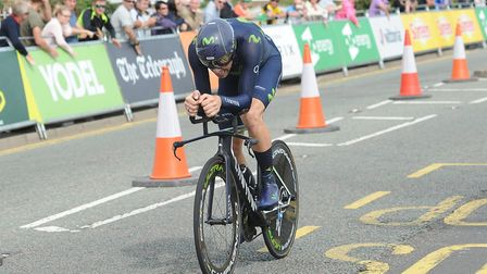 Essex rider Alex Dowsett heads towards the finish line in the Clacton Tour of Britain. Picture: SAR
