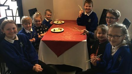 Pupils from Howard Community Primary School at 513 Oriental Buffet in Bury St Edmunds. Picture: MICH