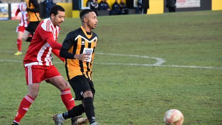 Ace Howell in action for Stowmarket Town. Picture: DAVE WALKER