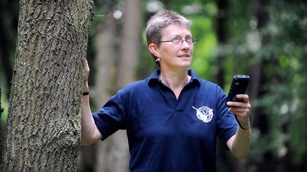 Sue Hooton, of the Suffolk Bat Group,with a detecting device used to monitor bat species. Picture: G