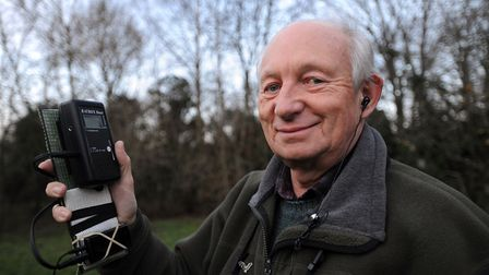 Naturalist Arthur Rivett, one of the driving forces behind the Suffolk Bat Group, with a bat detecto