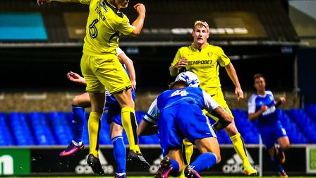 Luke Chambers heads Ipswich Town into the lead against Burton in 2016. Picture: STEVE WALLER