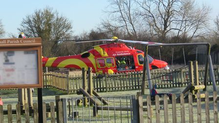 An air ambulance has landed in Lawshall, Suffolk. Picture: JULIAN DELEFORTRIE
