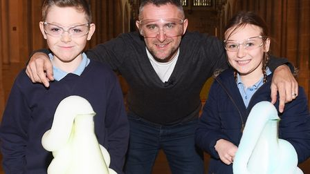 Suffolk Science Festival schools day at Bury Cathedral. Scientist Mark Thompson shows off an interes