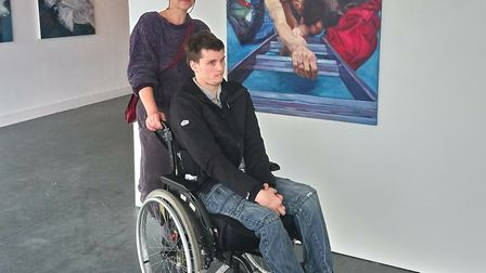 Annabel Mednick and Leo Collins at the Beneath The Skin exhibition. Photo: Waterfront Gallery