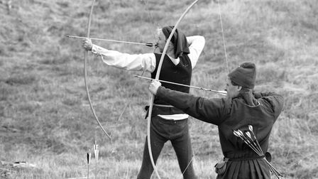 Archery at the Medieval Day at Orford Castle in August 1992