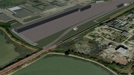 The planned location of the new Greater Anglia rail workshop at Brantham.