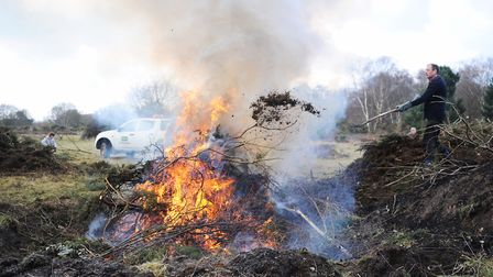 Heathland management is carried out by a Greenways Countryside Project work party on an Ipswish area