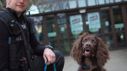PC Simon Hughes outside the Needham Market offices with Police dog Woody. Picture: MID SUFFOLK DISTR