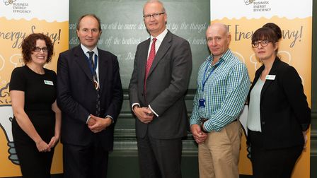 Matthew Hicks of Suffolk County Council with guests at the Suffolk launch of Bee Anglia.