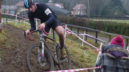Ipswich Junior Jack Parrish goes sideways at the Iceni Velo cyclo-cross. Picture: FERGUS MUIR