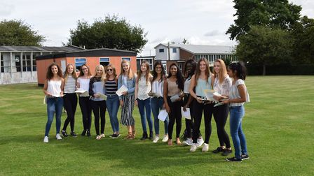 Students celebrate the 2017 GCSE results at Chelmsford County High School for Girls. Picture: CHELMS
