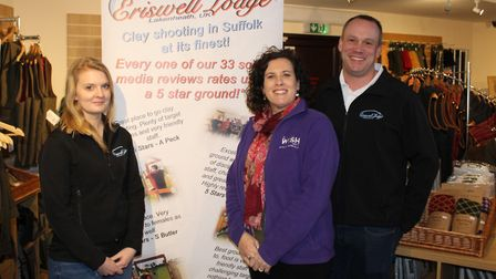 Sally Daniels (centre) from the My WiSH charity with Stuart Smith, director of Eriswell Lodge, and